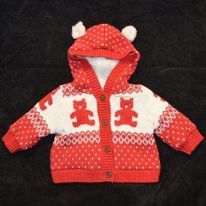 Baby Gap Bear Fair Isle Hoodie Cardigan Sweater